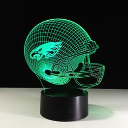 Wholesale Football Led Night Light - Novelty Philadelphia Eagles Football Helmet Illusion LED Night Light Color Changing 3D Lamps for Kids Gift Decor