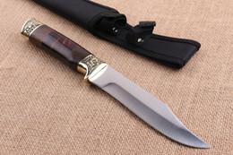 Cuchillos bowie cuchillas fijas online-De calidad superior Bowie Cuchillo de caza Blade 440C 57HRC Hoja de raso exterior que acampa de pesca cuchillos de hoja fija con funda de nylon