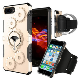Wholesale gear case cover - Aicoo Gym Running Armband Case Mechanical Gears Cover With Kickstand For iPhone X 8 7 6s 6 Plus Samsung Note8 S9 S8 Plus OPP BAG