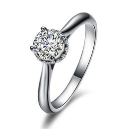 Продвижение 100% чистого твердого серебра кольцо с S925 штамп реального 925 серебряное кольцо 5 мм 1 Ct Z Алмаз обручальные кольца для женщин cheap solid silver stamp от Поставщики сплошной серебряный штамп