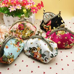 Wholesale Cute Key Pouch - Hot Women Cute Coin Purse Retro Vintage Flower Canvas Small Wallet Girls Change Pocket Pouch Hasp Keys Bag Metal Bar Opening New