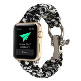 Wholesale Handmade Parachute - 2017 Durable Handmade Nylon Parachute Cord Watch Strap With Adapter Watch Band Replacement For Apple Watch iWatch Watchband 42mm 38mm