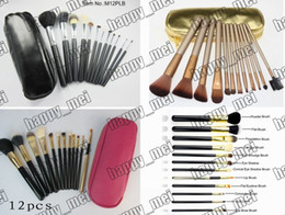 Wholesale Black Hair Pieces - Factory Direct DHL Free Shipping New Makeup Brushes 12 Pieces Brush With Leather Pouch!Pink Black Nude Gold