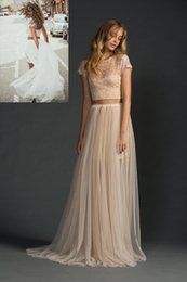Wholesale See Through Top Wedding Dresses - 2016 Blush Two Piece Wedding Dresses with Short Sleeves Boho Beach Bridal Gowns See Through Top Lace Summer Wedding Bride Gown Modern
