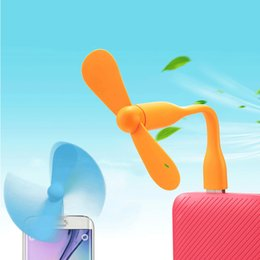 Wholesale Computers Laptops Notebooks - Creative USB Fan for iPhone 5 6 7 Flexible Portable Mini Fan For Xiaomi Power Bank Laptop Notebook Computer Summer Gadget Android Type C Fan