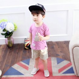 Wholesale Girl S Suits Pieces - The new summer 2017 boys girls baby's wear short-sleeved two-piece leisurewear suit