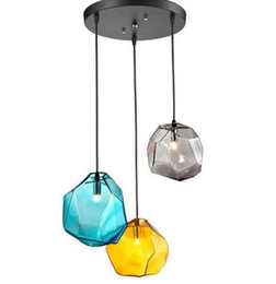 Wholesale Led G9 Blue - Modern colorful glass pendant light hanging lamp,1 3 heads G9 led suspension lamp for bar restaurant indoor lighting fixture LLFA