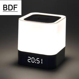 Оптово-BDF Новый мини-сенсорный светодиод Bluetooth для беспроводной динамик HIFI 3D стереозвук с будильником Календарь TF AUX FM многофункциональный cheap multi function speakers от Поставщики многофункциональные колонки