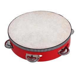 "Wholesale Wholesale Drum Kits - Wholesale- Yibuy 7"" Educational Red Musical Sheepskin Tambourine Beat Round Drum For Children"