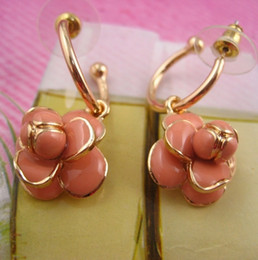 Wholesale Italian Fashion Earrings - High quality Luxury designer Italian fashion charming pink black flower hoop earrings Symbol accesories gold plated party jewelry for women