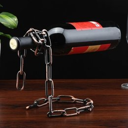 Wholesale Popular Kitchens - Creative Popular Stand Floating Red Wine Bottle Rack Magic Rope Metal Chain Holder For Home Kitchen Bar 8 2rh B