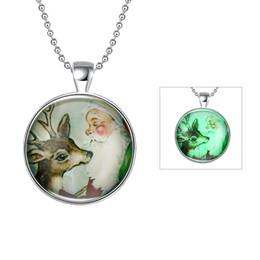 Wholesale Elderly People - Christmas luminous Series Elderly people with deer necklace cute snowman necklace auspicious deer glow jewelry