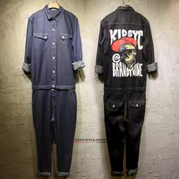 Wholesale Cargo Pants Style Women - Wholesale-2016 spring&autumn Men&women skull jumpsuits hiphop denim jeans fashion work clothes cargo pants casual worker pants trousers