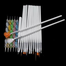 Wholesale Dotting Pen For Nails - Tools Nail Brushes 15Pcs Set Nail Art Brushes Set Painting Detailing Pen +5 Pcs 2 Ways Dotting Pen Marbleizing Tool for Manicure