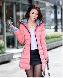 Wholesale Korean Girl Down Jacket - Wholesale- Basic jackets coats Genuine 2016 new Korean version of the Slim Down Girls long section thick winter coat big yards jackets 9863