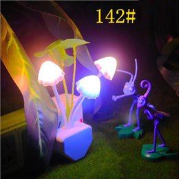 Wholesale Colorful Dream Lamp - Creative EU US Romantic Colorful LED Mushroom Night Light Dream Bed Lamp Home Illumination free shipping