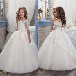 Wholesale Baby Clothes For Cheap - 2018 Vintage Ivory Baby Infant Toddler Baptism Clothes Little Flower Girl Dresses For Wedding With Half Sleeves Lace Tutu Ball Gowns Cheap
