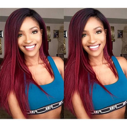 Wholesale Long Hair Tone - 1b 99j Ombre Human Hair Full Lace Wig Straight Burgundy Two Tone Glueless Lace Front Full Lace Wigs Ombre Virgin Hair Wig