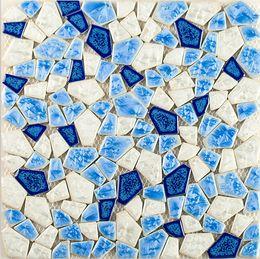 Wholesale Mosaic Tile Shapes - Kiln glazed irregular shapes blues ceramic mosaic tiles mixed colors pocelain mosaic tiles for kitchen backsplash bathroom decorate,LSSP12