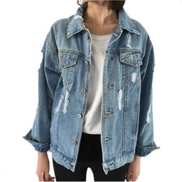 Wholesale Casual Jeans Tops Women - Wholesale- OLGITUM Spring Women Basic Coats Female Jeans Coat Denim Jacket Long Sleeve Vintage Loose Casual Tops LJ893E