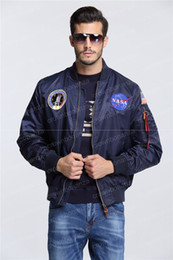 Wholesale Men Thin Shorts - 2016 spring Autumn thin NASA Navy flying jacket man varsity american college bomber flight ma1 jacket for men