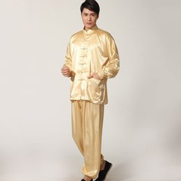 Wholesale Man Pajama Silk - Hot Sales Men Sleepwear Traditional Chinese Style Pajamas Silk-Like Long Sleeved Tai Chi Suit Leisure Clothing Homewear JK0071