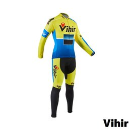 Wholesale Cushion S - Vihir Lightweight Long Sleeve Cycling Jersey and Spongy Cushion with No Bib Bike Pants Set for men