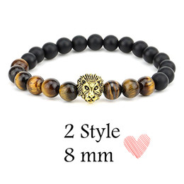 Wholesale Head Gems - 8MM Beads Lion Head Mens Matte Agate Gems Stretch Perfume Bracelet With Lion Head 2 Styles Christmas Gift Top Seller Preferred B339S