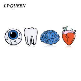 Wholesale tooth suit - Wholesale- 4pcs   set Cartoon Human Organ Brooch Corsage Brain Eye Teeth Suit Unique Design Brooch Dream Doctor