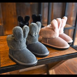 Wholesale Cute Boots For Baby Girls - New Arrival Winter Warm Children's Shoes Cute Baby Snow Boots Pink Black Gray Brands Shoes for Girls boys Kids Cartoon Clothing & Shoes