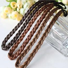 Wholesale Hair Plaited Elastic - Fashion Women Girl Synthetic Hair Plaited Plait Elastic Headband Hairband Braided Band Hair accessories Bohemian Style