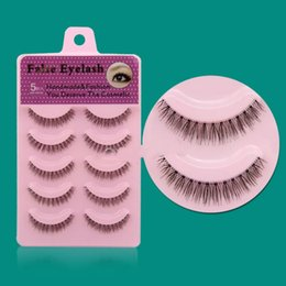 Wholesale Lady Lash - New 5 Pair Women Lady Nature Short Cross Daily Fake Eye Lashes Fashion False Eyelashes Tools