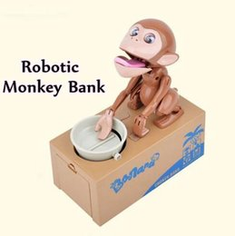 Wholesale Money Saving Pots - Money Piggy Bank Mechanical Choken Robotic Hungry Monkey Eating Coins Piggy Bank Saving Bank Saving Pot Money Box Party Favor CCA7550 96pcs