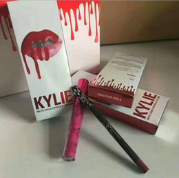 Wholesale Red Head Heels - Kylie Jenner Lip Kit Makeup 43 Colors Head Over Heels Aprzcot Lip Gloss With Liquid Matte Lipstick Red