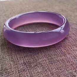 Wholesale Agate Bangle Jade - New China traditional Natural agate Chalcedony Bracelet Ice kind Hibiscus Jade Bangle violet for women 660760