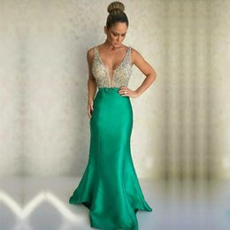 Wholesale Evening Dress Thin Straps - Sexy Beaded Sequins Party Evening Dresses Pageant Gowns Thin Straps Deep V Neck Mermaid Prom Dresses Trumpet Formal Gowns 2017