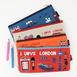 Wholesale File Storage Case - 2PCS Kawaii I Love London Soldier Oxford Pencil Bag File Case Holder Storage Stationery Office Supplies