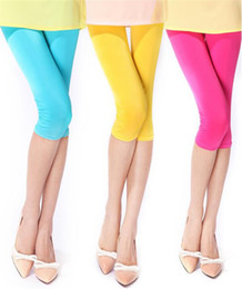 Wholesale Wholesale Black Pants - Spring Summer Japan Russia New Tide Women Elastic Knee-Length Leggings Capris Pants Cute lady Solid color Polyester blue Leisure Slim Sports