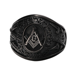 Wholesale 3d Christmas - Jewelry Men's Black Plated Stainless Steel Masonic Vintage Ring 3D Large G Mason Master Freemason  Master Mason Vintage Signet Ring