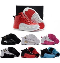 Wholesale Size 35 Black Shoes - 2017 Air Retro 12 Kids Shoes Children J12s Basketball Shoes High Quality Sports Shoes Youth Sneakers For Sale Size: US11C-3Y EU28-35