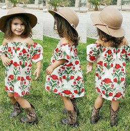 Wholesale casual mid length beach dresses - Ins off shoulder flower cotton girls floral beach dress cute baby summer backless tutu rose skirt 1-6Y lapel kid clothing factory toddler
