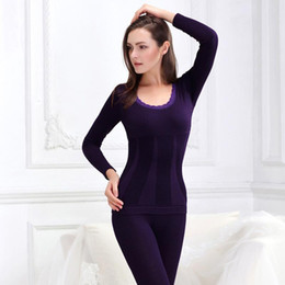 Wholesale Tight Body Sexy Underwear - Wholesale- Thermal Underwear Sets New Winter Women Modal Long Johns Seamless Top and Pant Suit Sexy Slim Body Shaper Warm Tights