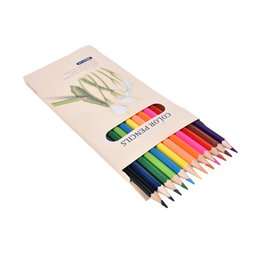 Wholesale Led Pencils Free Shipping - Wholesale-12 pcs lot Pure Color 12 Color Pencil Drawing Painting Boxed Candy Colors Lead Pencils Free shipping