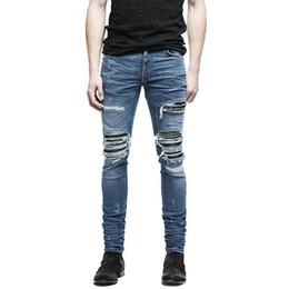 Wholesale Leather Jeans Men Skinny - Wholesale- MORUANCLE Brand Designer Mens Ripped Biker Jeans Hi-Street Distressed Moto Denim Joggers Trousers Leather Patchwork Black Blue