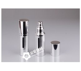 Wholesale Cosmetic Airless Pump Gold - 30ml Gold Silver metal aluminum Empty refillable Airless Lotion Treatment Pump Cosmetic Dispensing Bottles Travel Bottle wa3743