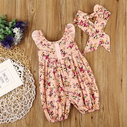 Wholesale Baby Flower Romper - 0-2T Baby Flower Rompers+Hair Band Girl Cotton Floral Flower Print Sleeveless Romper with Bow Girls Ruffled Jumpsuit Princess Romper KA009