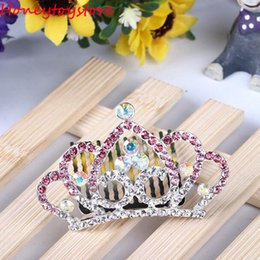 Wholesale Colorful Crystal Comb - Crown Colorful Crystal Girl Hair Comb Kids Headwear Princess Animal Shape Diamond Headbands Children Hair Clips Hair Accessories