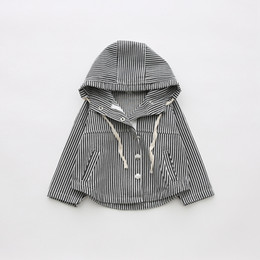 Wholesale Girl Faux Coat - Everweekend Girls Striped Hoodie Jacket Cute Baby Button Pocket Coat Lovely Kids Black Color Korean Fashion Autumn Outerwear