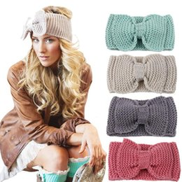 Argentina Women Lady Fashion Crochet Big Bow Knot Turban Knitted Head Wrap Hairband Winter Ear Warmer Headband Hair Band DDB003 Suministro