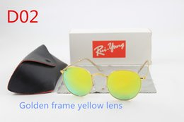 Wholesale United Designers - 1 Europe and the United States fashion sunglasses Italian brand designer men and women round glass lenses gold frame glasses